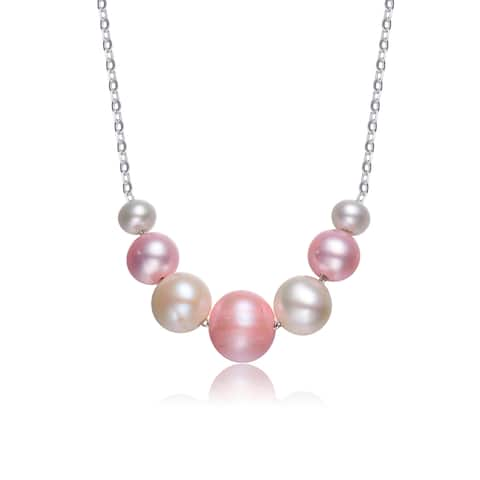 Collette Z Sterling Silver Pink & White Balls Satin Necklace