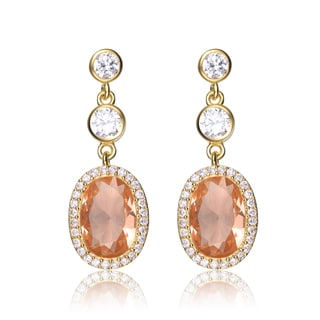 Collette Z Sterling Silver Peach Oval And White Cubic Zirconia Earrings