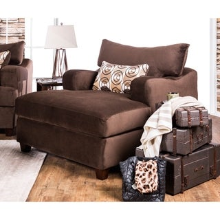 Furniture of America Nisha III Modern Chocolate Premium Fabric Chaise