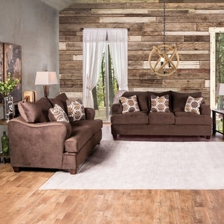 Furniture of America Nisha III Modern 2-piece Chocolate Premium Fabric Sofa Set