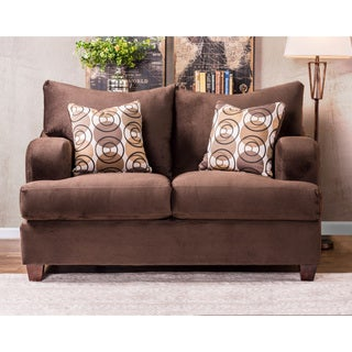 Furniture of America Nisha III Modern Chocolate Premium Fabric Loveseat
