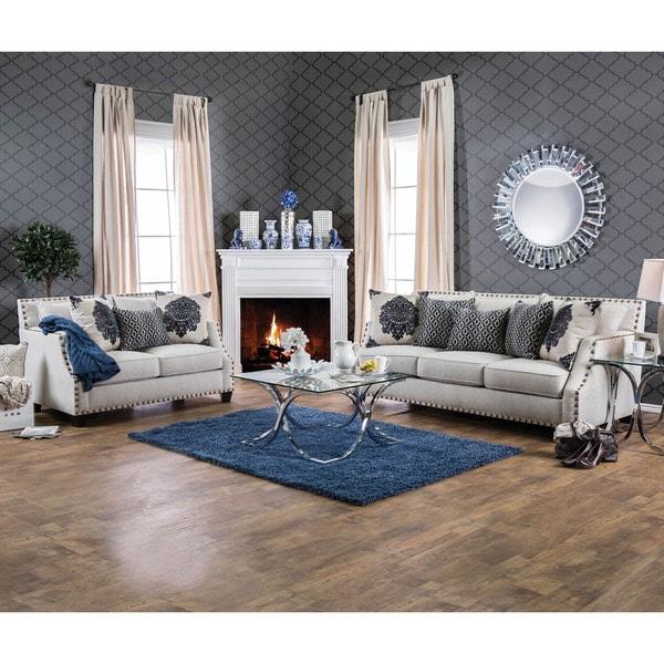 Furniture of America Rita Contemporary 2-piece Nailhead Sloped Arm Sofa Set