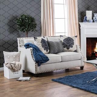 Furniture of America Rita Contemporary Nailhead Sloped Arm Loveseat
