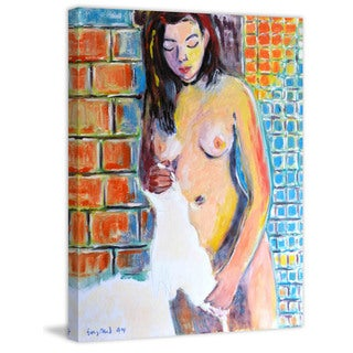 Marmont Hill - Figure with White Towel Painting Print on Canvas