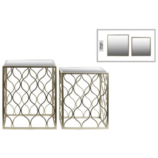 Metal Square Metallic Silver Finished Nesting Accent Table with Mirror Top (Set of Two)