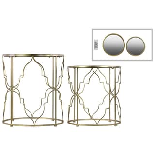 Metal Round Metallic Gold Finished Nesting Accent Table with Mirror Top (Set of Two)