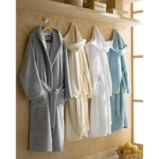 Hooded Turkish Cotton Plush Bath Robe in Ecru (As Is Item)