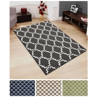 Superior Collection Hand Hooked Moroccan Lattice Wool Rug (5'x8')