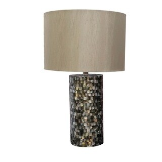Somette Seashell Mosaic Round Table Lamp