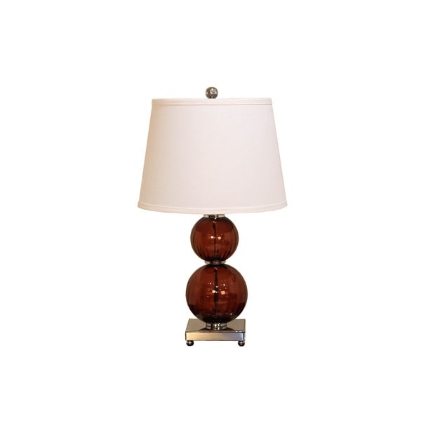 Somette Maroon Fluted Double Round Glass Table Lamp