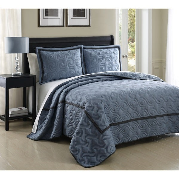 Carlton Stitched 3-piece Coverlet Set