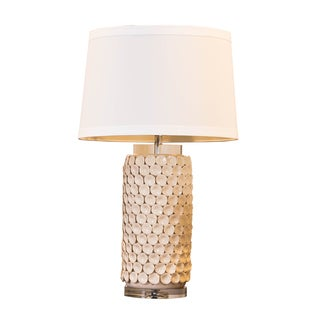 Somette Cream Porcelain Stacked Seashells Table Lamp