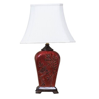 Bombay Maroon Bird and Tree Silhouette Table Lamp