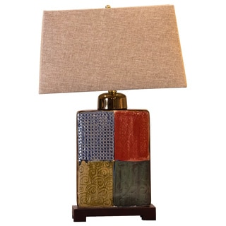 Bombay Multicolor Rectangular Porcelain Table Lamp