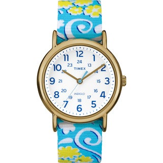 Timex Women's TW2P901009J Weekender White Swirl Reversible Strap Watch