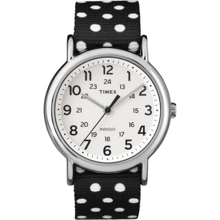 Timex Women's TW2P866009J Weekender Reversible Black Polka Dot Nylon Slip-Thru Strap Watch