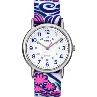 Timex Women's TW2P902009J Weekender Blue Swirl Nylon Slip-Thru Strap Watch