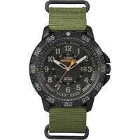 Timex Men's  Expedition Gallatin Green Nylon Slip-Thru Strap Watch