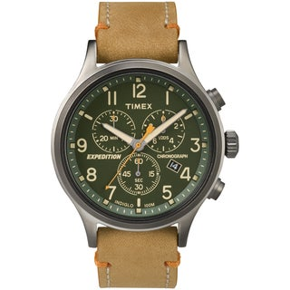 Timex Men's TW4B044009J Expedition Scout Chrono Tan Leather Slip-Thru Strap Watch (Option: Green)