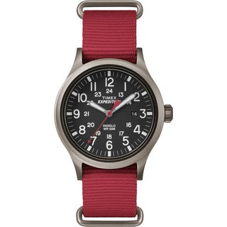 Timex Men's TW4B045009J Expedition Scout Red Nylon Slip-Thru Strap Watch