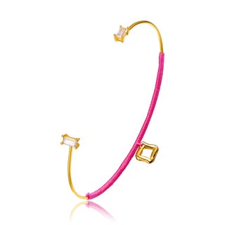 Alberto Moore Latest Trend Goldplated Cashmere Rose Thread Diamond-shape Accent Bangle