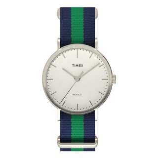 Timex Unisex TW2P908009J Weekender Fairfield Blue/Green Nylon Slip-Thru Strap Watch
