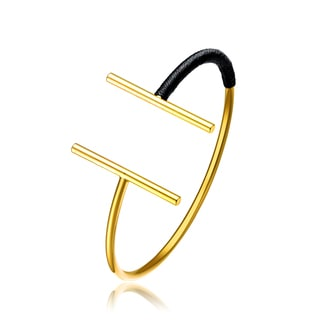 Alberto Moore 18k Yellow Goldplated Reflecting Pond Thread Double Line Stricky and Statement Bangle Bracelet