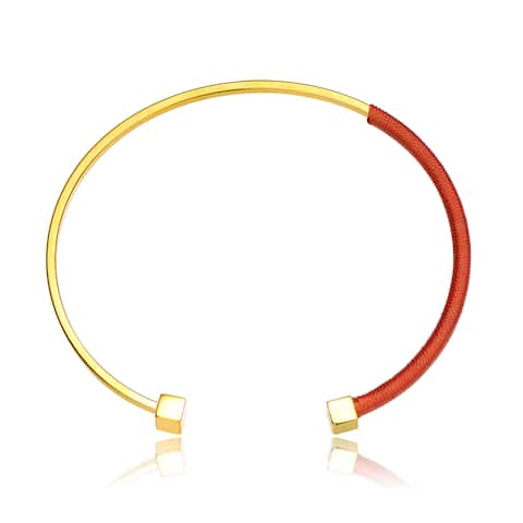 Alberto Moore Alberto Moore Goldplated Cadmium Orange Thread Bangle