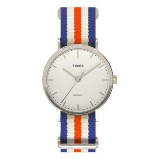 Timex Unisex TW2P911009J Fairfield Watch with Orange/ Blue/ White Nylon Slip-thru Strap
