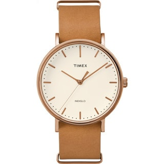 Timex Unisex TW2P912009J Weekender Fairfield Brown Leather Slip-Thru Strap Watch