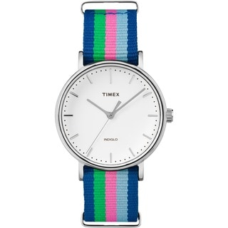 Timex Women's TW2P917009J Fairfield Watch with Blue/ Pink/ Green Nylon Slip-thru Strap