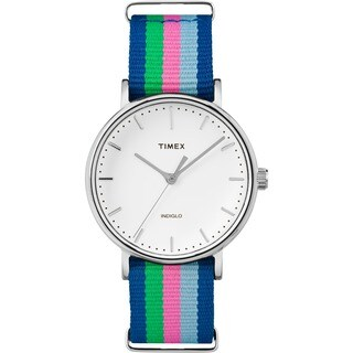Timex Women's Fairfield Watch with Blue/ Pink/ Green Nylon Slip-thru Strap