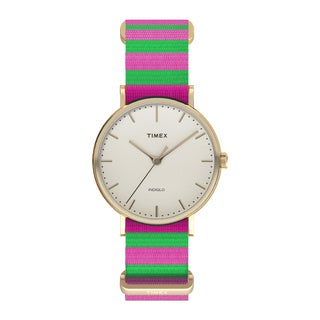 Timex Women's TW2P918009J Fairfield Watch with Pink/ Green Nylon Slip-thru Strap