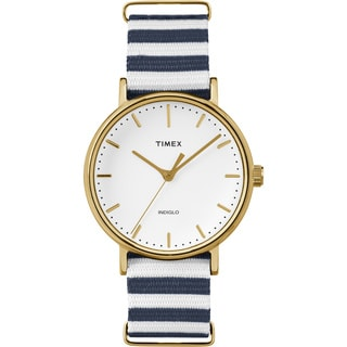 Timex Women's TW2P919009J Weekender Fairfield Blue/White Nylon Slip-Thru Strap Watch