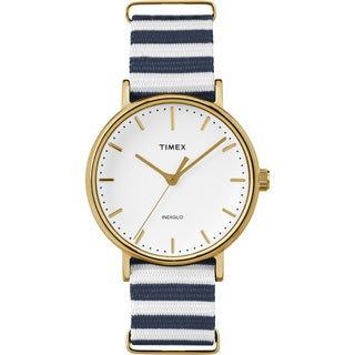 Timex Women's TW2P919009J Fairfield Watch with Blue/ White Nylon Slip-thru Strap