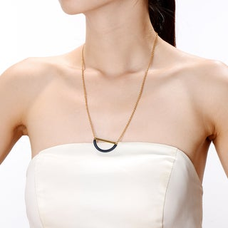 Alberto Moore Goldplated Reflecting PondThread Half Moon Necklace
