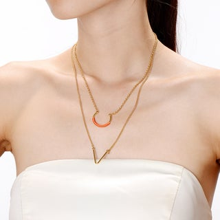 Alberto Moore Goldplated Cadmium OrangeThread UV Layer Necklace