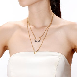 Alberto Moore 18k Goldplated Stormy Weather Thread UV Layer Necklace Statement Fashion Pendant