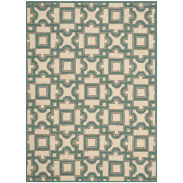 Safavieh Hand-Hooked Four Seasons Ivory / Aqua Blue Polyester Rug - 8' x 10'