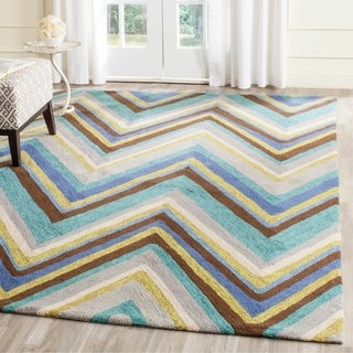 Safavieh Hand-Hooked Four Seasons Blue/ Multi Chevron Rug (8' x 10')