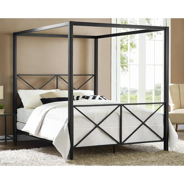 dhp rosedale black canopy queen bed - Queen Bed Frame Black