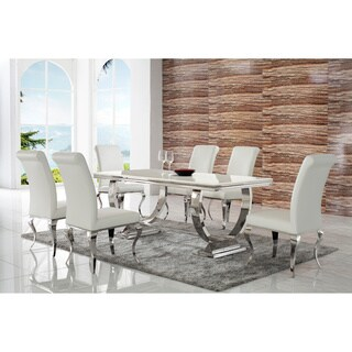 Borche 7 Pc Dining Set - White Faux Leather Polyurethane