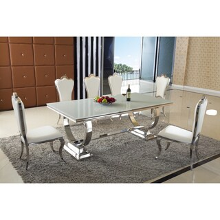 Teana 7 PC Dining Set - White Faux Leather Polyurethane