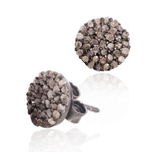 Pori Black Rhodium-Plated Sterling Silver 2 1/4ct TDW Round Champagne Diamond Stud Earrings