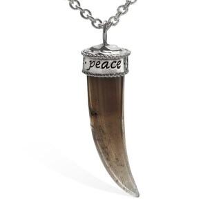 Rhodium over Bronze Smokey Quartz Horn Inspirational Pendant