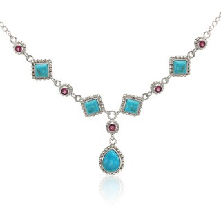 Sterling Silver 18' Turquoise and Rhodolite Drop Necklace