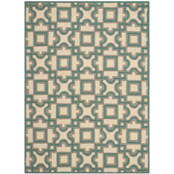 Safavieh Hand-Hooked Four Seasons Ivory / Aqua Blue Polyester Rug (4' x 6')