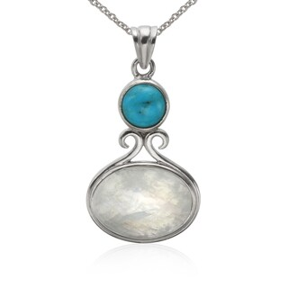 Sterling Silver 18x13mm Moonstone and Turquoise Pendant