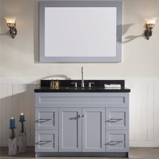 "Hamlet 49"" Single Sink Vanity Set with Absolute Black Granite Countertop in Grey"