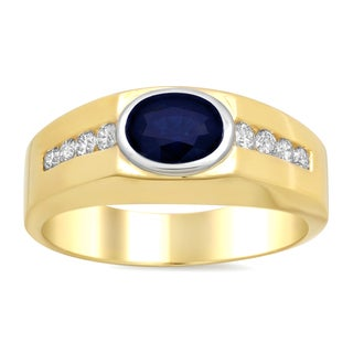 14k Two-tone Gold 2/5ct TDW Diamond and Sapphire Ring (E-F, SI1-SI2)